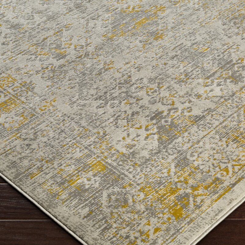 Bungalow Rose Anil Yellow Gray Area Rug