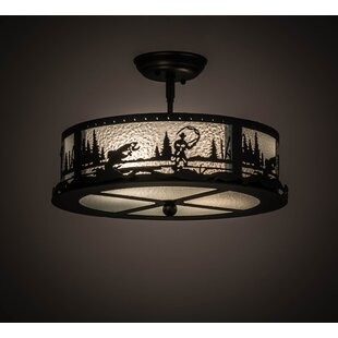 Fly Fishing Creek 2-Light Semi Flush Mount by Meyda Tiffany