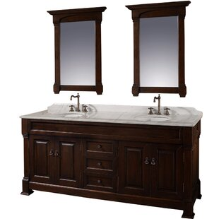 Reviews Andover 72 Double Dark Cherry Bathroom Vanity Set with Mirror By Wyndham Collection
