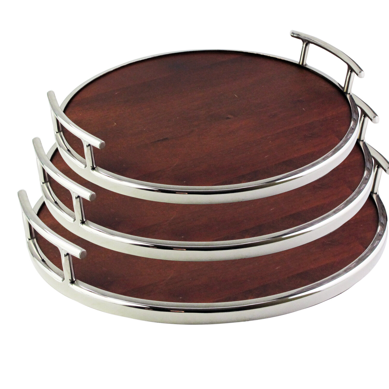 Ebern Designs Warburton Wooden 3 Piece Serving Tray Set Wayfair