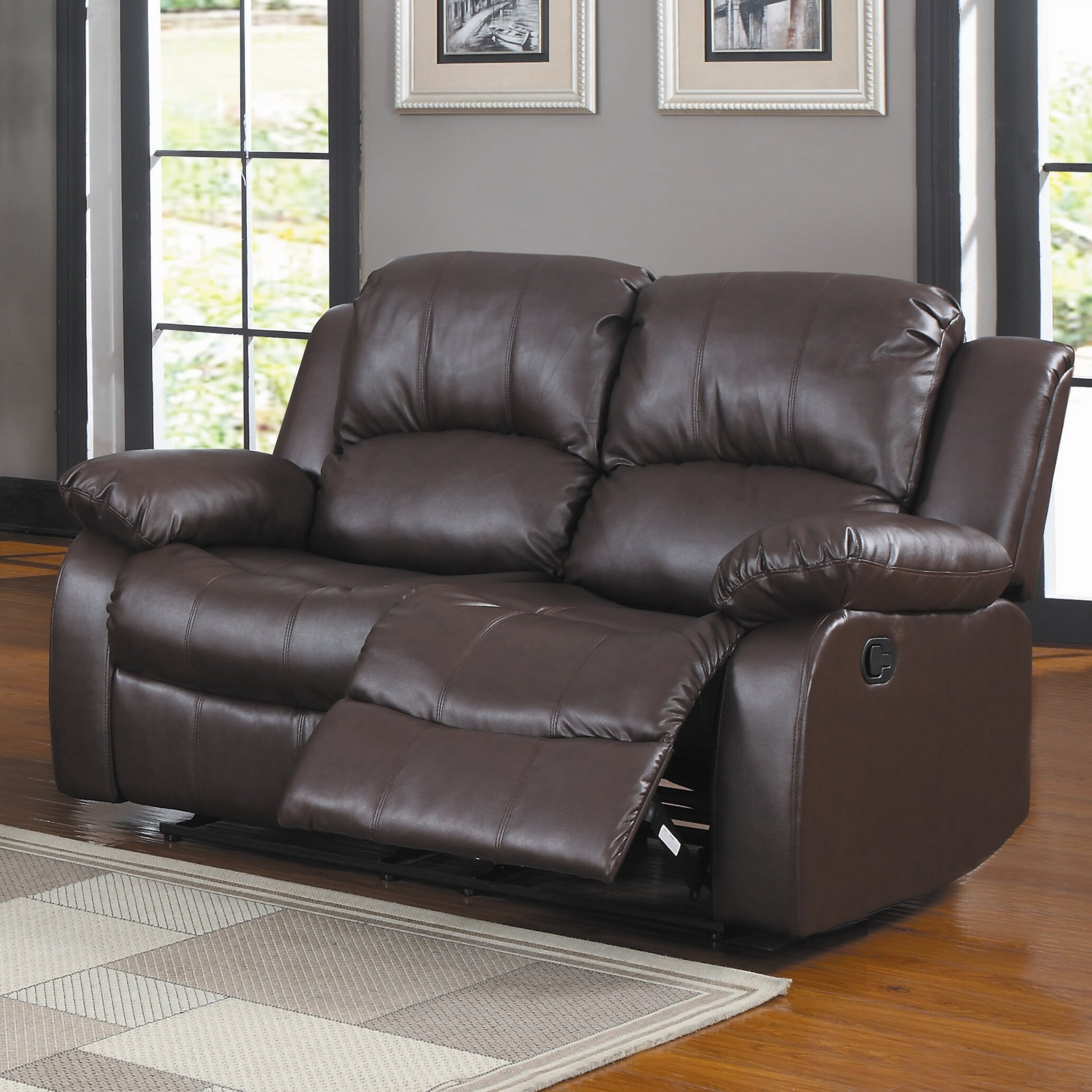 Latitude Run Malec 60 Wide Faux Leather Pillow Top Arm Reclining Loveseat Reviews Wayfair