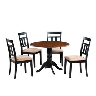 Agata 5 Piece Drop Leaf Solid Wood Dining Set August Grove