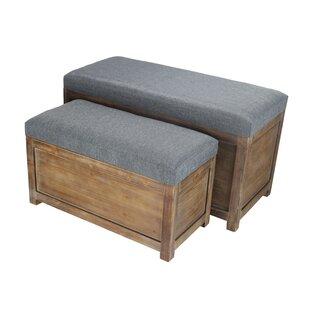 Gracie Oaks Woodrum 2 Piece Wooden Storage Bench Set