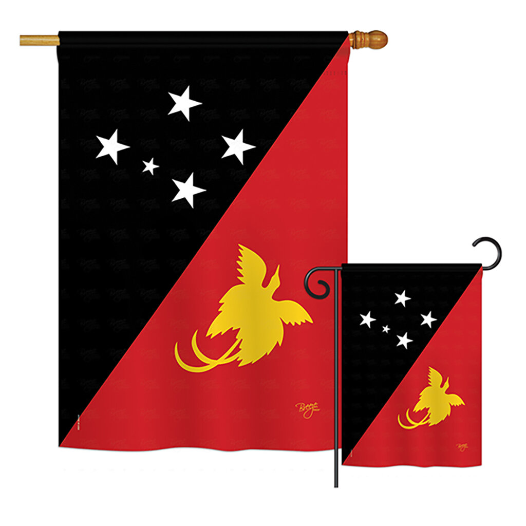 Breeze Decor Papua New Guinea Of The World Nationality Impressions Decorative Vertical 2 Sided Polyester Flag Set Wayfair