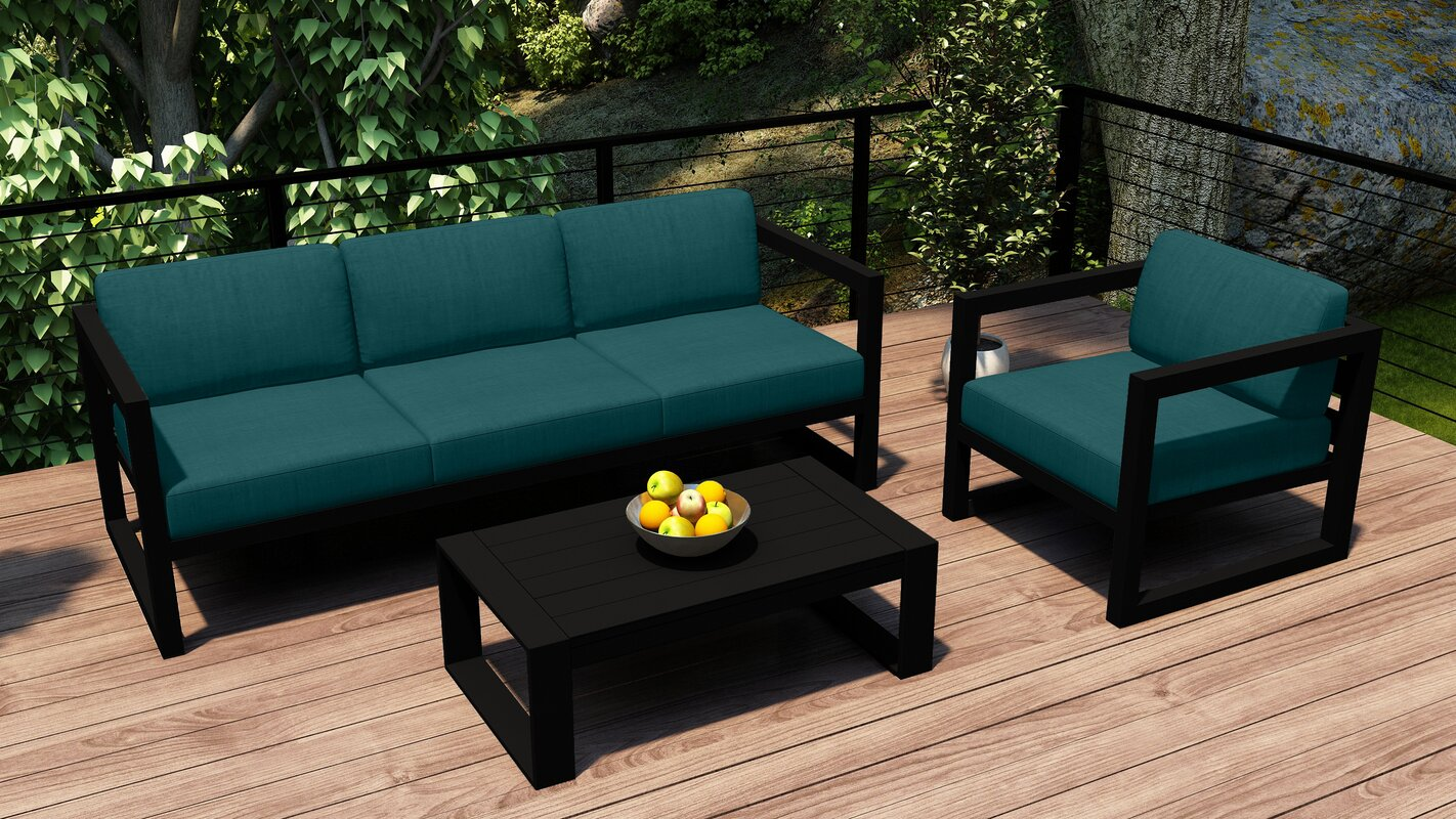 17 Stories Remi 3 Piece Sofa Seating Group with Sunbrella Cushions