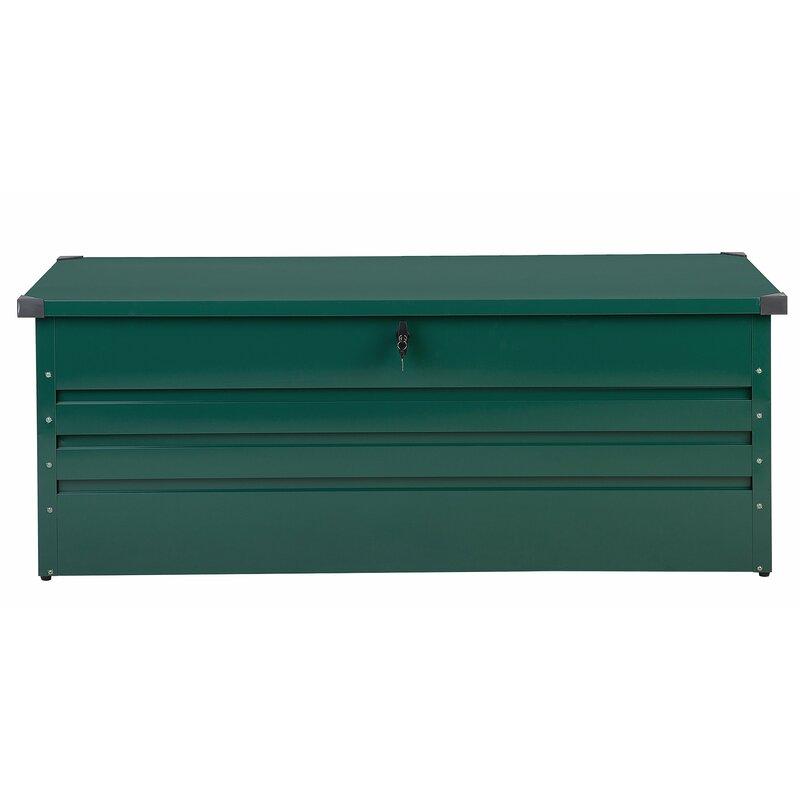 Beliani Cebrosa Outdoor 158 Gallon Metal Deck Box  Color: Green