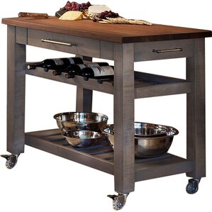 Attractive Metro Mobile Kitchen Island With Solid Walnut Top