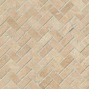 Tuscany Herringbone Honed Random Sized Travertine Tile In Beige