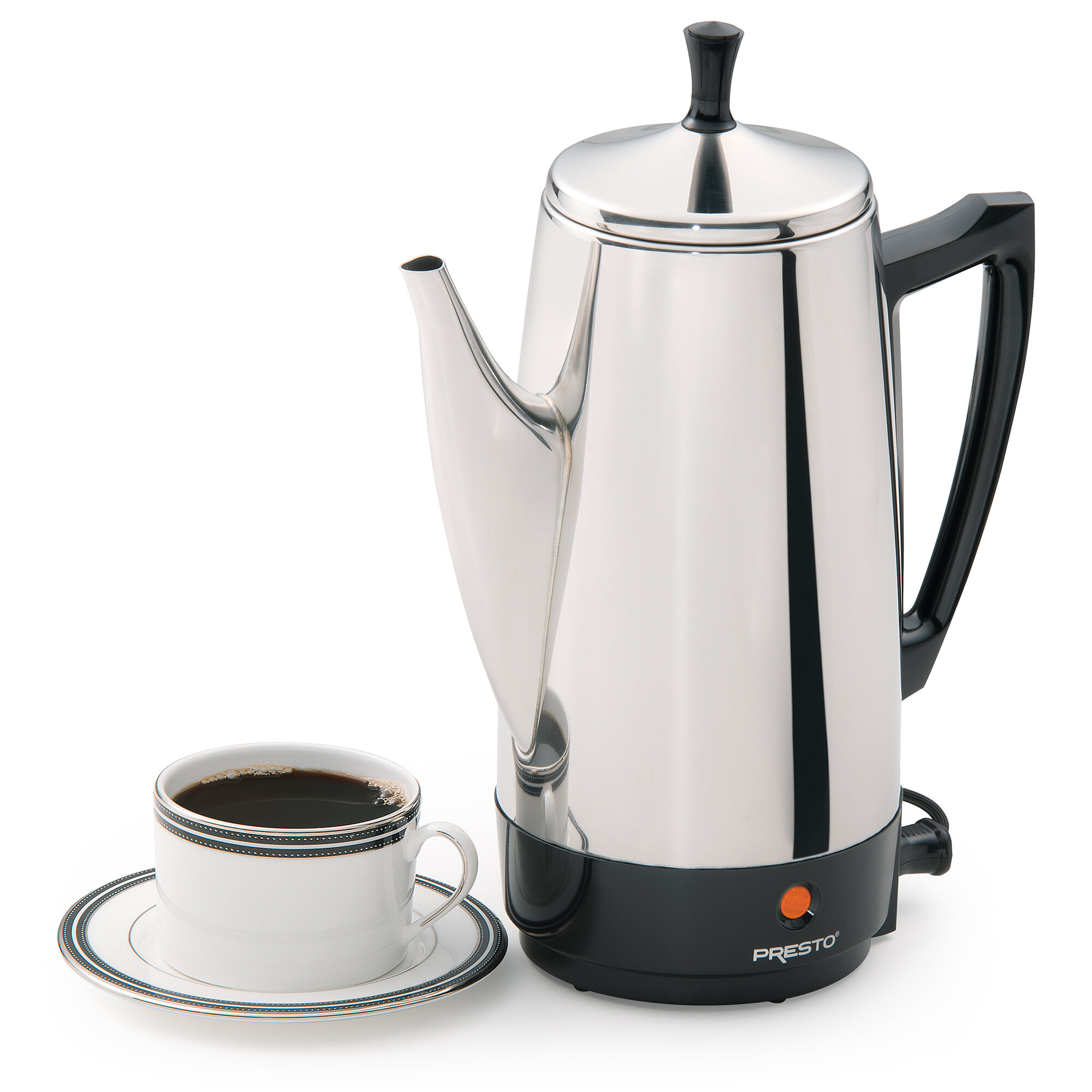 12 Cup Big Coffee Percolator Stainless Steel Electric Quick Brew Pot Fast Heat