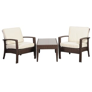 Hazle 3 Piece Rattan Conversation Set with Cushions