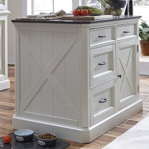 Ryles 3 Piece Kitchen Island Set with Engineered Quartz Top by Laurel Foundry Modern Farmhouse