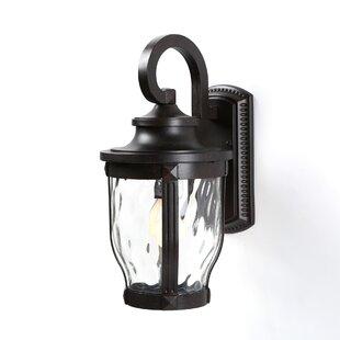 Three Posts Porterfield 1-Light Glass Shade Outdoor Wall Lantern