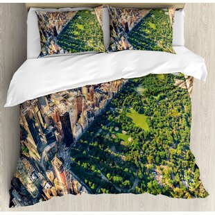 East Urban Home Central Park from the Air Surrounded by Buildings Downtown View Duvet Set
