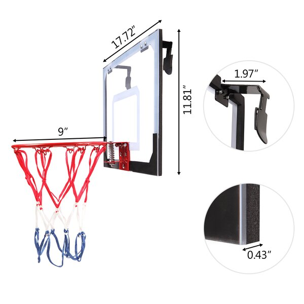 A//N Elyonce Basketball hoop quality and safety checked Basketball Goal Hoop Hanging Basketball Rim Wall Mounted Goal Hoop with Net Screw for Outdoors Indoor 32cm