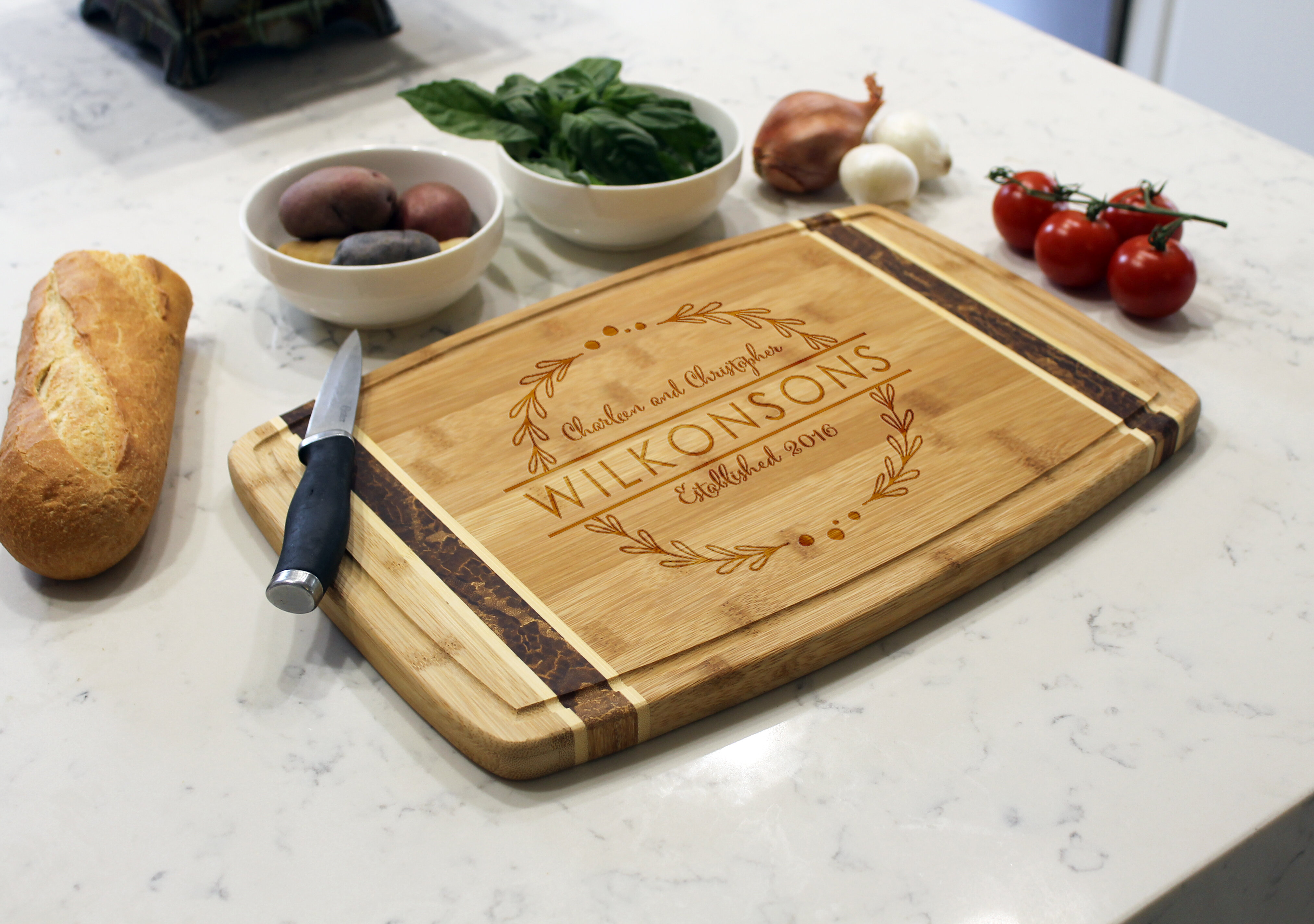 Etchey Marble Bamboo Cutting Board Reviews Wayfair