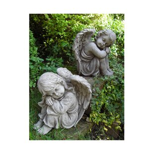 Langston 2 Piece Resting Angel Stone Garden Statue Set (Set Of 2) By Happy Larry