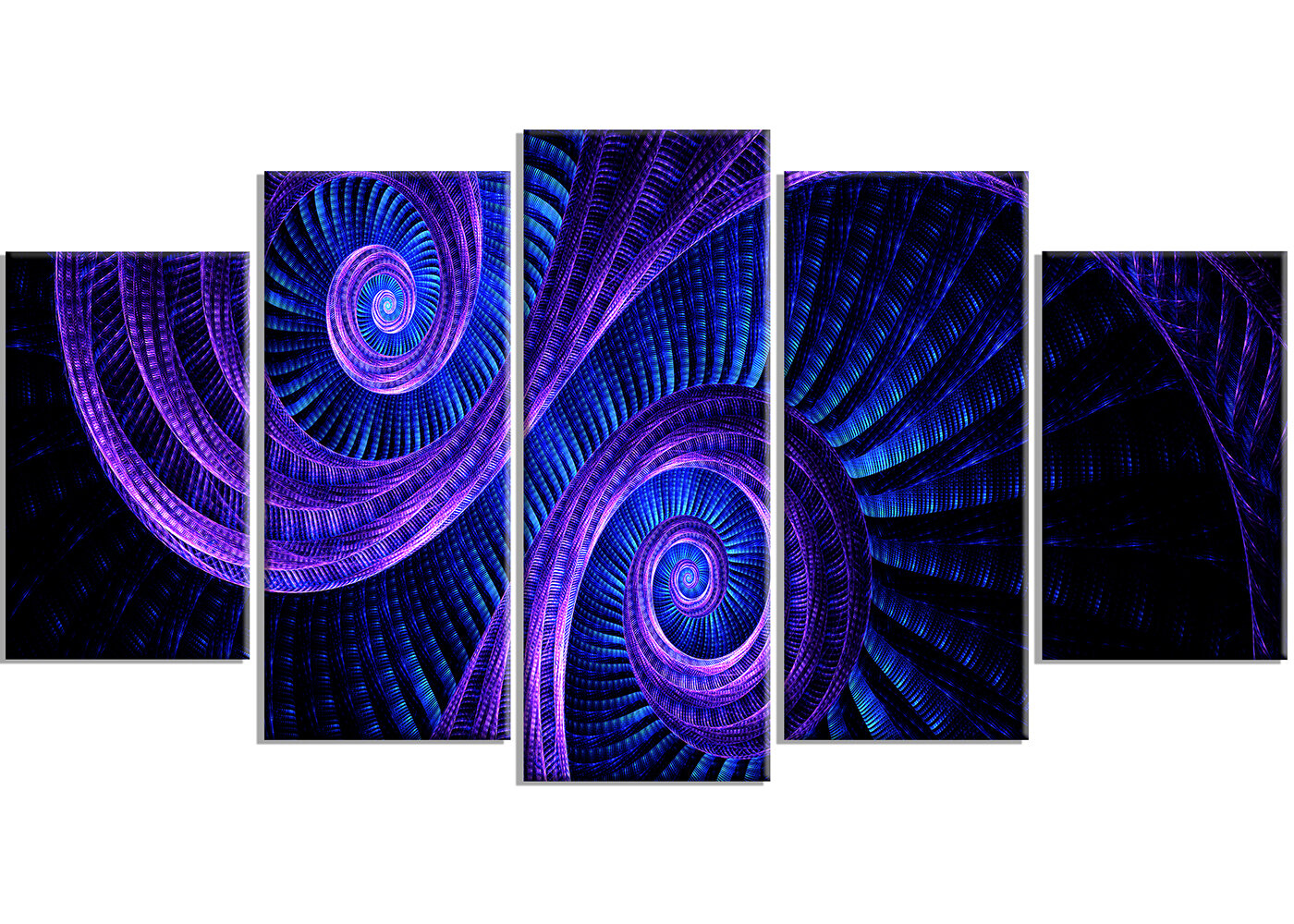 Designart Royal Purple Blue Dream 5 Piece Graphic Art On Wrapped Canvas Set Wayfair