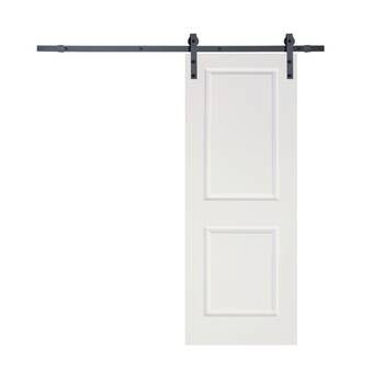 Paneled Manufactured Wood Primed Clic Bent Strap Barn Door With Installation Hardware Kit