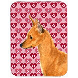 Best Reviews Valentine Hearts Min Pin Hearts Love and Valentine's Day Portrait Glass Cutting Board ByCaroline's Treasures