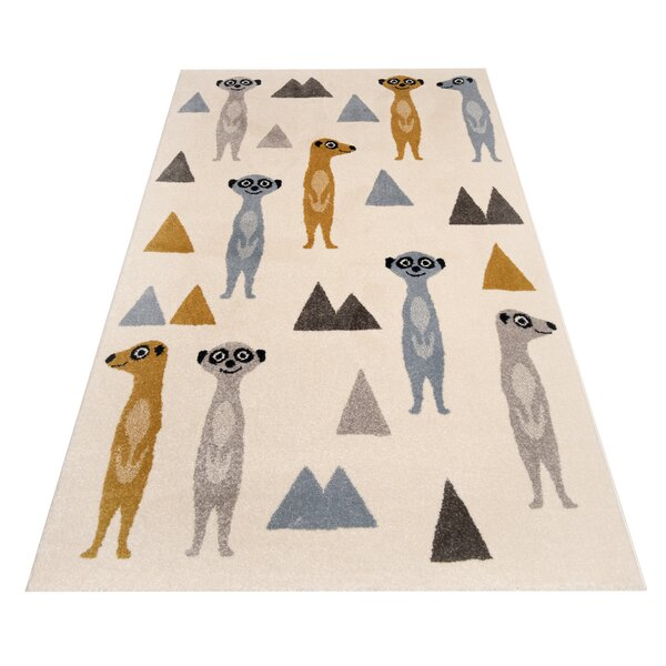 Zala Living Happy Meerkats Tufted Cream Grey Yellow Rug Wayfair Co Uk