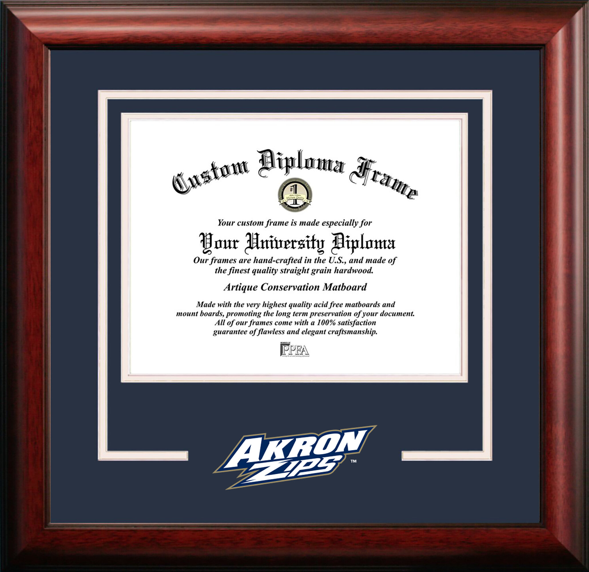 Campus Images OH983SG University of Akron Zips Spirit Graduate Diploma Frame with Lithograph Print 8.5 x 11
