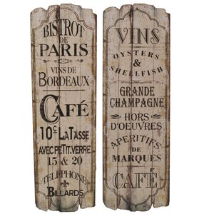 'Paris Cafu00e9' 2 Piece Textual Art Set