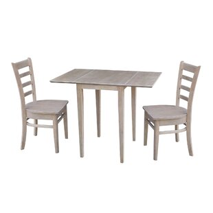 Springs Small Dual 3 Piece Drop Leaf Solid Wood Dining Set August Grove