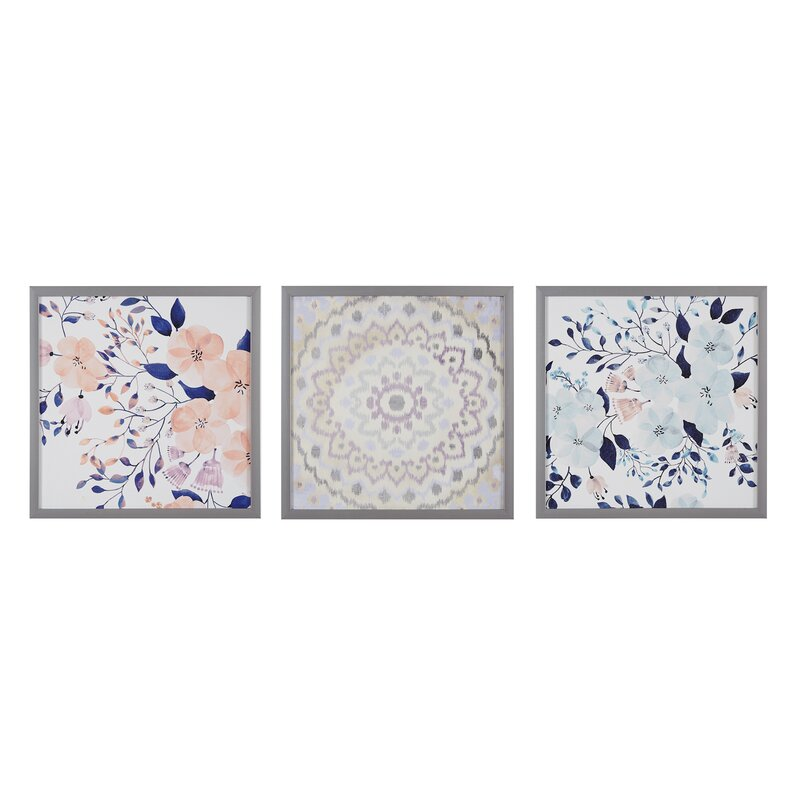 'Summer Bliss' 3 Piece Framed Painting Print Set