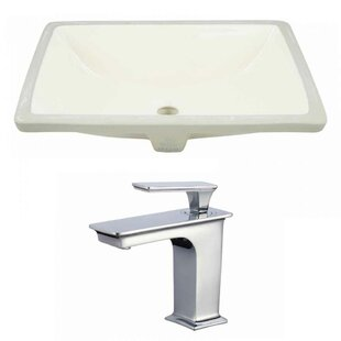 Great deal CUPC Ceramic Rectangular Undermount Bathroom Sink with Faucet and Overflow ByAmerican Imaginations