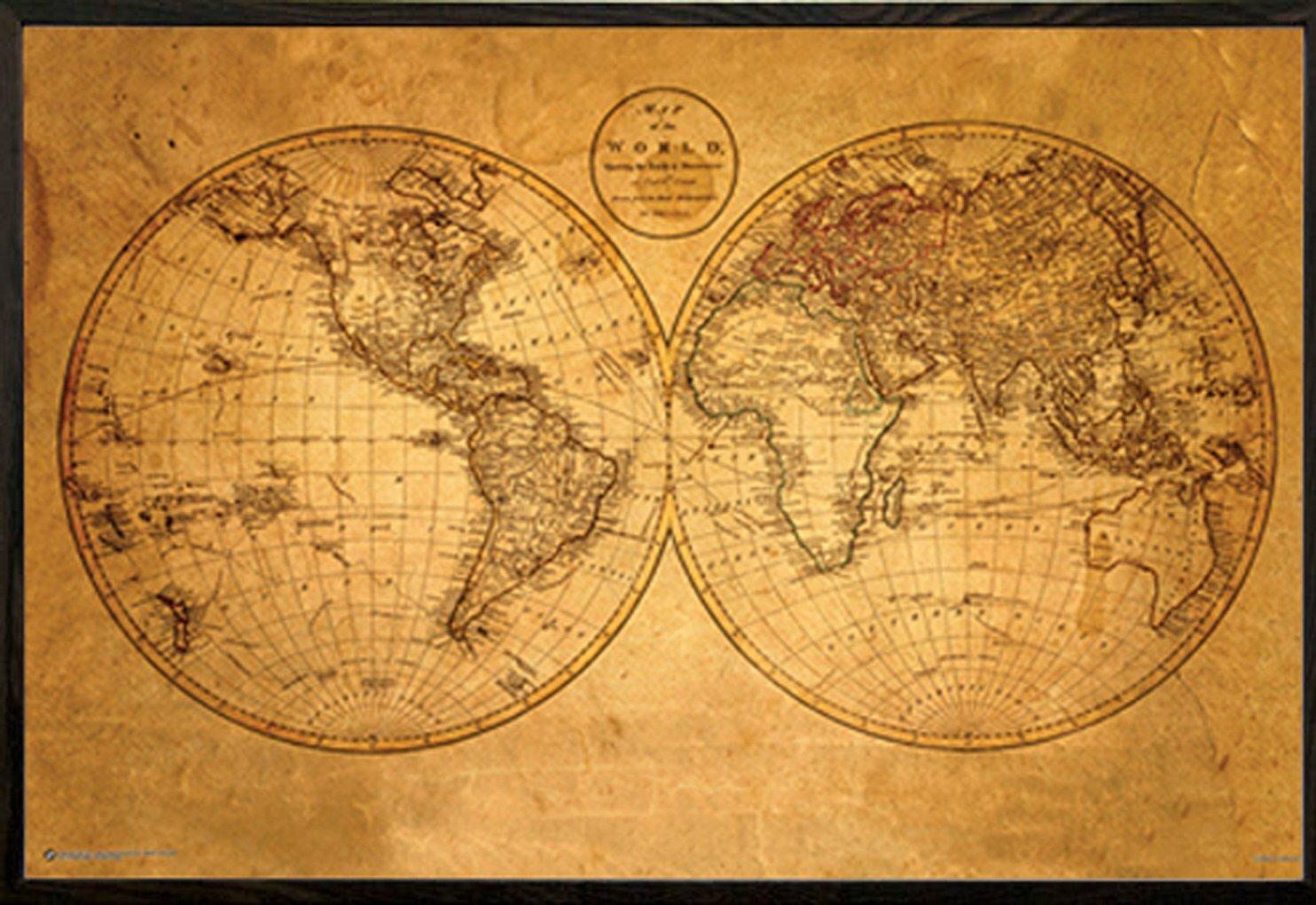 Frame USA Architect \'Old World Map\' Framed Graphic Art Print, Poster ...