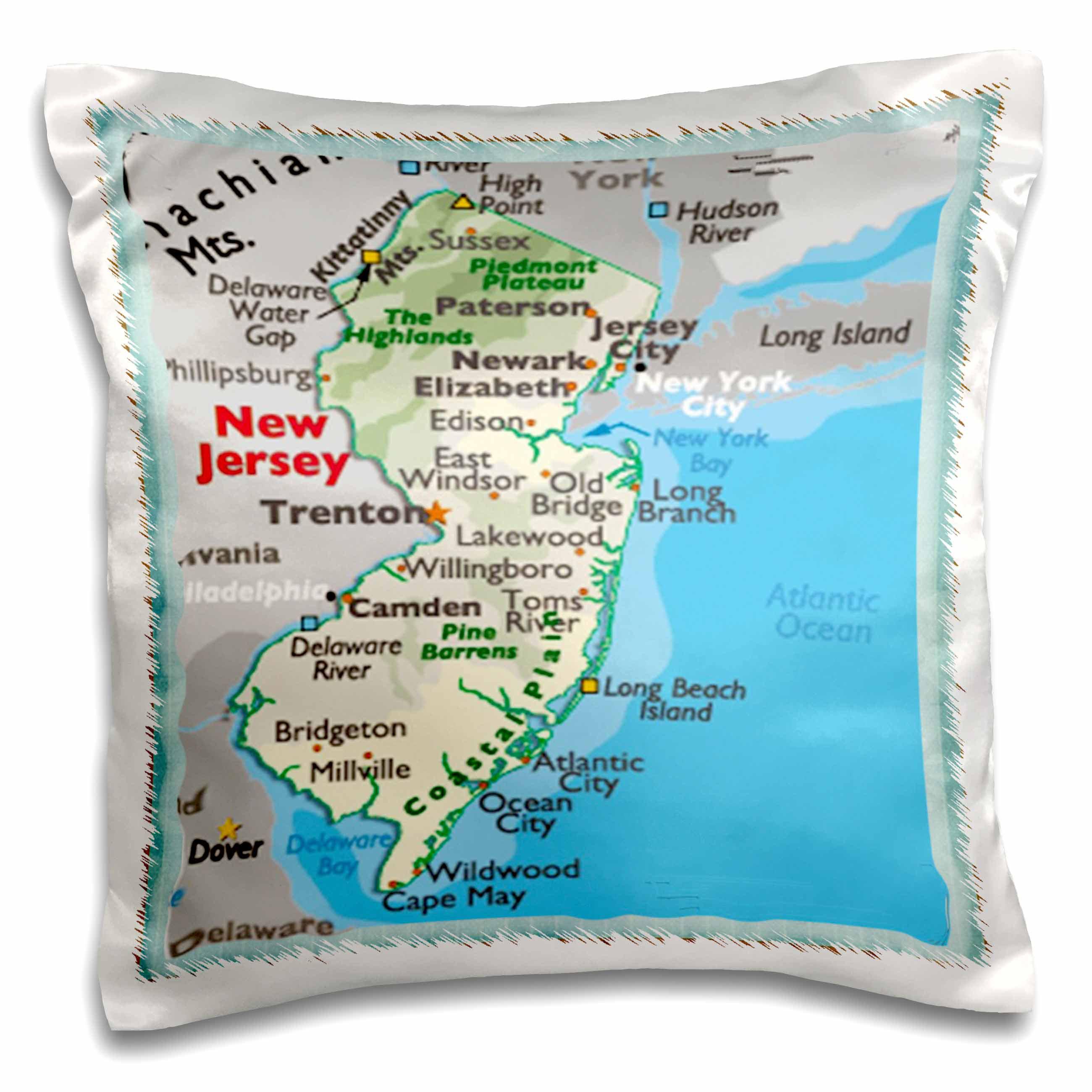 East Urban Home Framed Map Of New Jersey 16 Throw Pillow Cover Wayfair