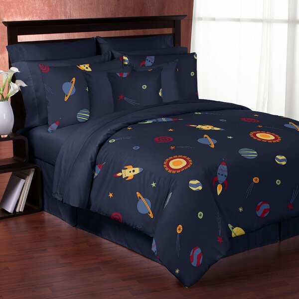 sweet jojo designs space galaxy comforter set reviews wayfair rh wayfair com Galaxy Bedroom Set Ashley Furniture galaxy bathroom set