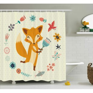 Jefferson Cute Animal with Floral Single Shower Curtain