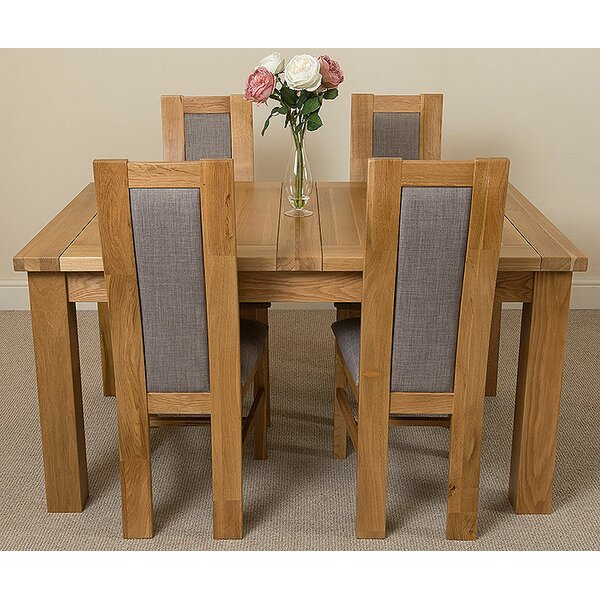 Ophelia Co Goolsby Kitchen Solid Oak Dining Table With 4 Chairs