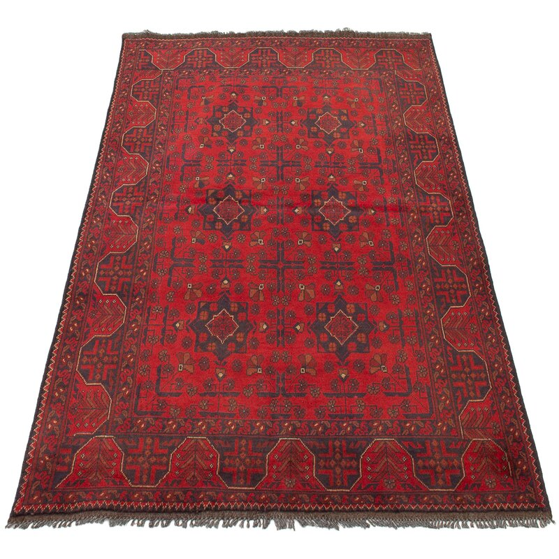 Isabelline One Of A Kind Alarick Hand Knotted 2010s Esari Turkman Red 4 10 X 6 5 Wool Area Rug Wayfair
