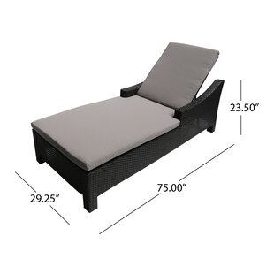 Burke Outdoor Reclining Chaise Lounge with Cushion by Ivy Bronx