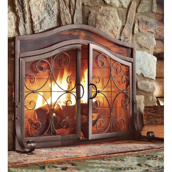 plow amp hearth small crest fireplace screen with doors amp reviews wayfair
