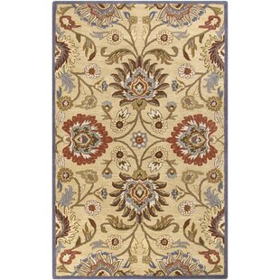 Phoebe Hand-Tufted Wool Natural/Brick Area Rug by Birch Lane™ Heritage