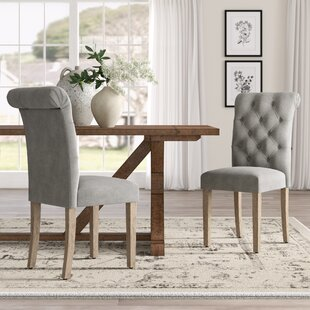 Ansonia Roll Top Tufted Modern Upholstered Dining Chair (Set of 2)