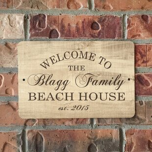 Personalized Wood Grain Look Beach House Metal Sign Wall Décor