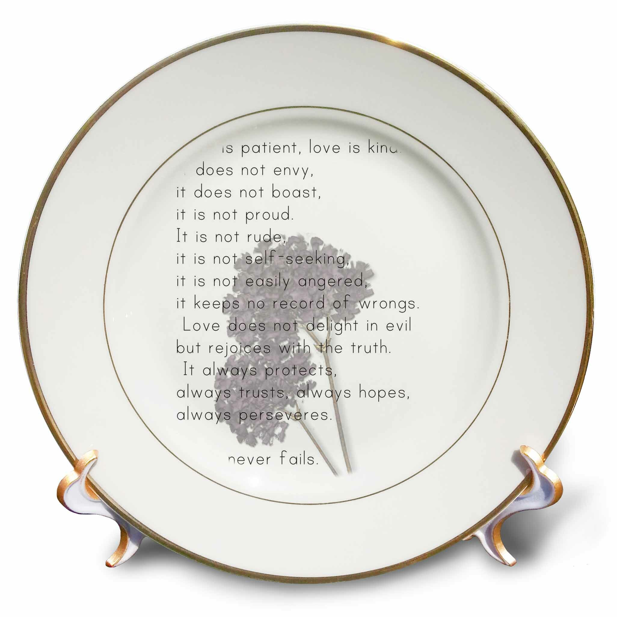 Love Is Patient, Love Is Kind Verse with Lavender Flowers Inspirational  Porcelain Decorative Plate
