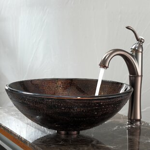 Compare Copper Glass Circular Vessel Bathroom Sink with Faucet ByKraus