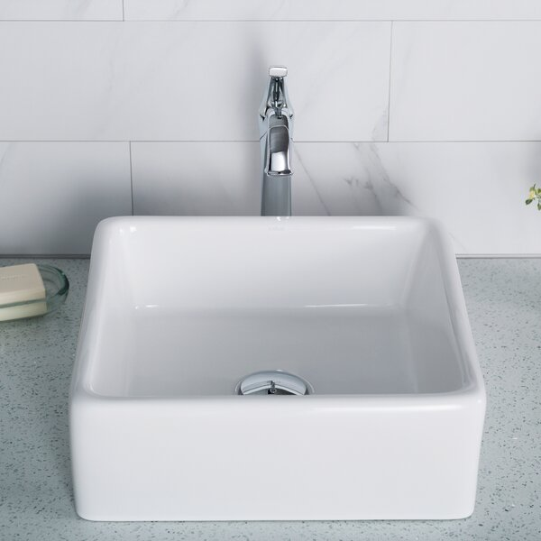 Kcv 120 Kraus Ceramic Square Vessel Bathroom Sink Reviews Wayfair