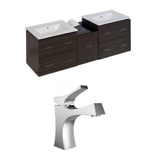 Kyra 62 Rectangle Natural Wood Double Bathroom Vanity Set by Orren Ellis