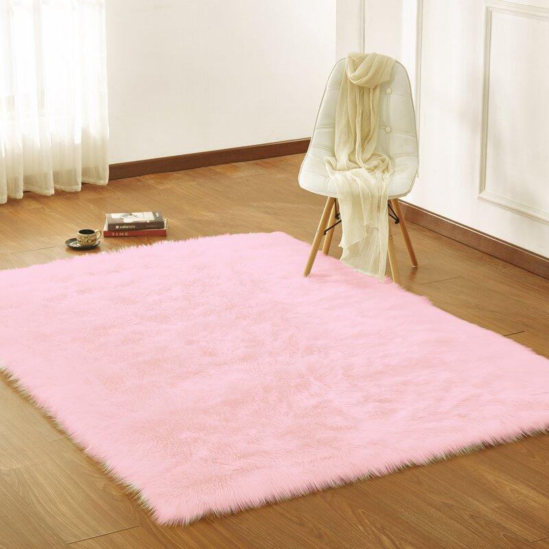 Mereworth Fox Animal Loom Faux Fur Pink Area Rug