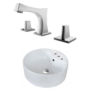 Coupon Ceramic Circular Vessel Bathroom Sink with Faucet and Overflow ByRoyal Purple Bath Kitchen