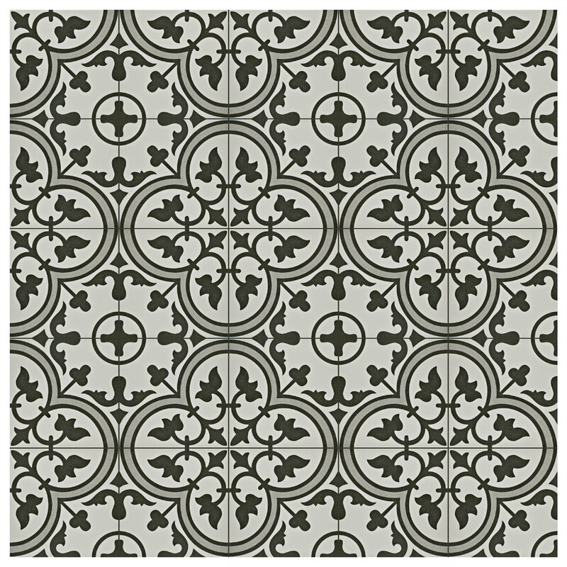 "Artea 9.75"" x 9.75"" Porcelain Field Tile in Dark Gray/White"