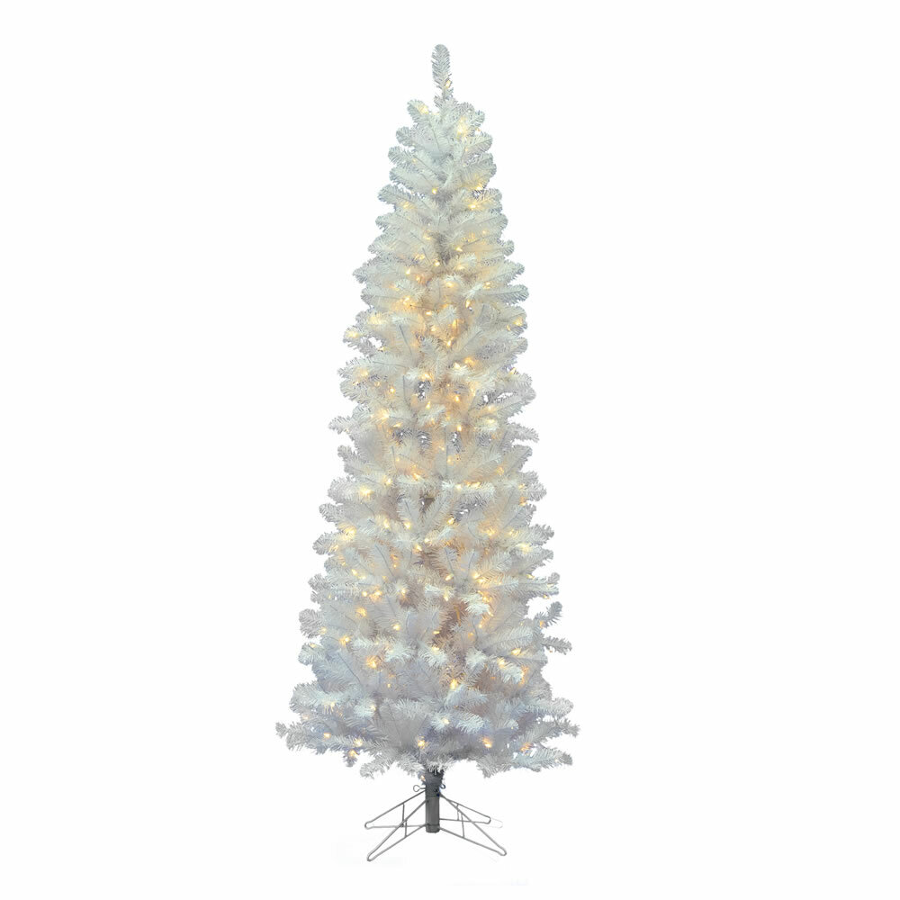The Holiday Aisle Salem Pencil 6.5\' White Pine Artificial Christmas ...