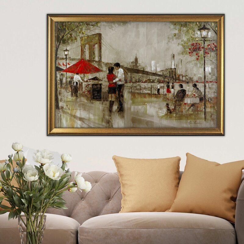 New York Romance By Ruane Manning Framed Painting On Canvas