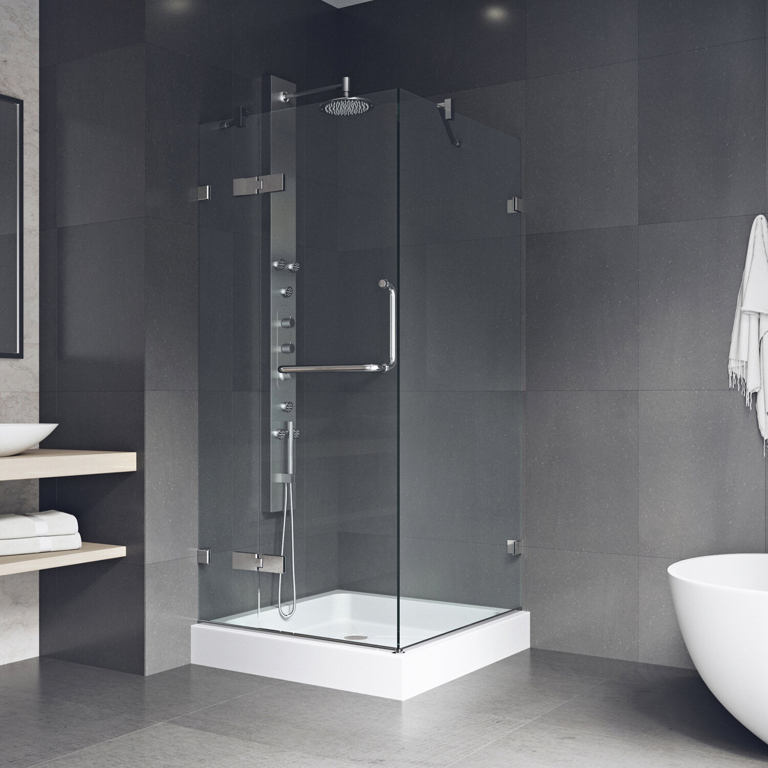 Monteray 32 37 X 79 25 Square Pivot Shower Enclosure With Base Included